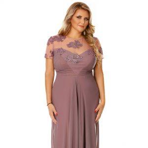 Rochie Plus Size Lia Pruna - Rochie lunga de seara - TTBoutique