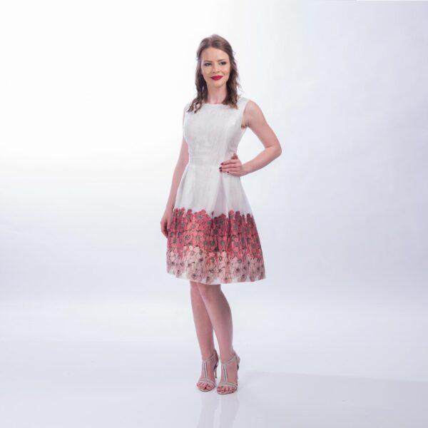 Rochie clos Alba cu imprimeu floral
