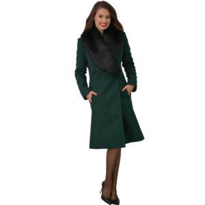 Palton elegant cu guler de blana