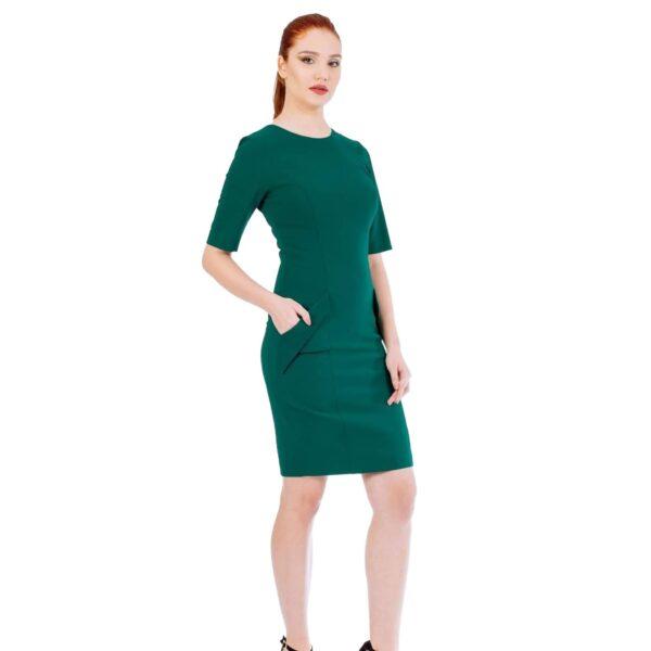 Rochie midi Verde cu buzunare