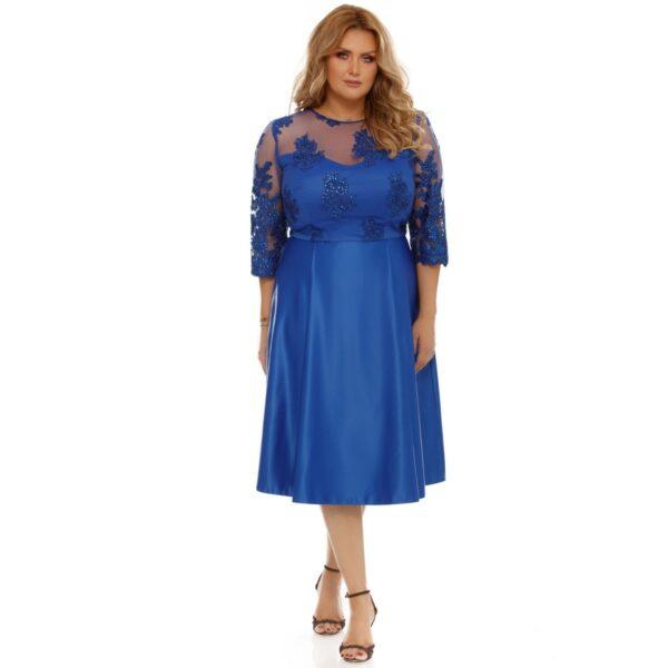 Rochie albastra cu dantela aplicata